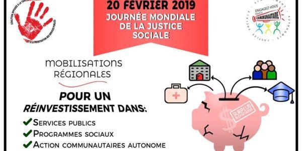 20 février: rassemblement pour la Journée mondiale de la justice sociale